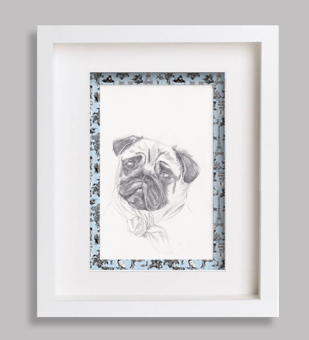 portrait-animalier-dessin croquis bleu