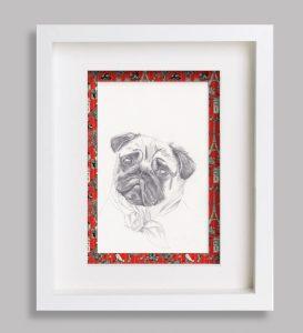 portrait-animalier-dessin croquis rouge