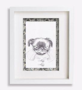 dessin-au-crayon-du-petit-brabançon-jacobine-portrait animalier-sophie-de-boissieu-